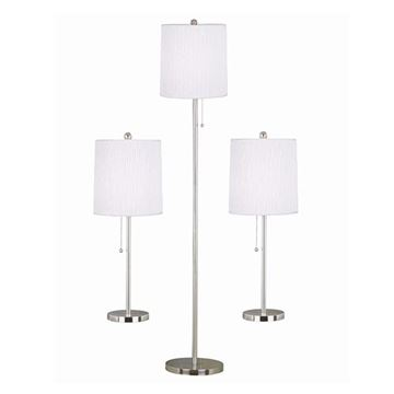 Kenroy Home 21016BS Selma 3-Pack Table & Floor Lamp - Brushed Steel