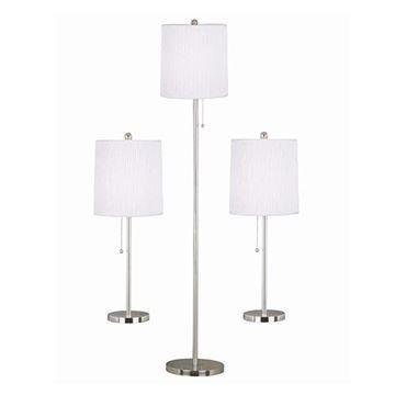 Kenroy Home 21016BS Selma 3-Pack Table & Floor Lamp - Brushed Steel