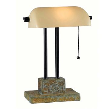 Kenroy Home 21041SL Greenville Banker Lamp - Natural Slate & Bronze