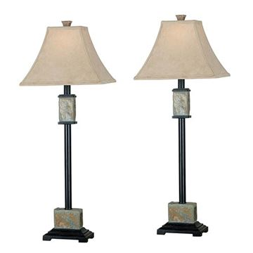 Kenroy Home 31201 Bennington Buffet Lamp 2-Pack - Natural Slate