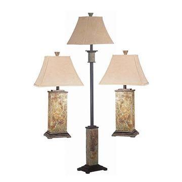 Kenroy Home 31207 Bennington 3-Pack Table & Floor Lamp - Natural Slate