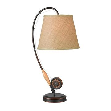 Kenroy Home 32193ORB Fly Rod Table Lamp - Oil Rubbed Bronze & Wood