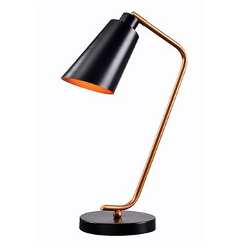 Kenroy Home 32940BL Alvar Desk Lamp - Matte Black & Antique Brass