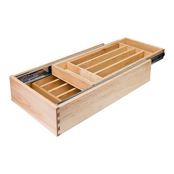 Restorers Double Cutlery Drawer with Push-To-Open Inner Slide