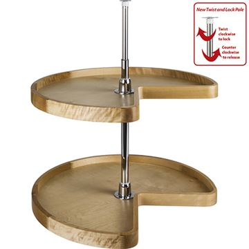 Restorers Kidney Wood Lazy Susan Set With Twist And Lock Pole