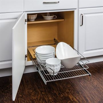 Elements 11-Minute Polished Chrome Cabinet Pullout Basket