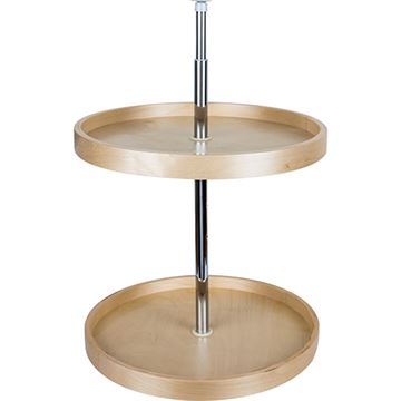 Restorers Round Banded 2-Shelf Lazy Susan Set - Adjustable