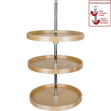 Restorers Round Banded Lazy Susan 3-Shelf Set with Adjustable Pole