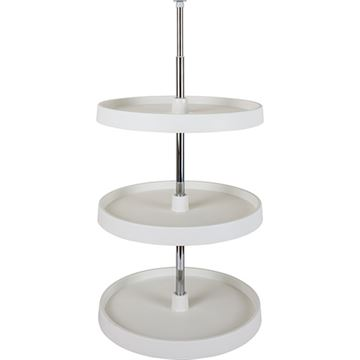 Restorers Round Plastic 3-Shelf Lazy Susan Set - Twist & Lock