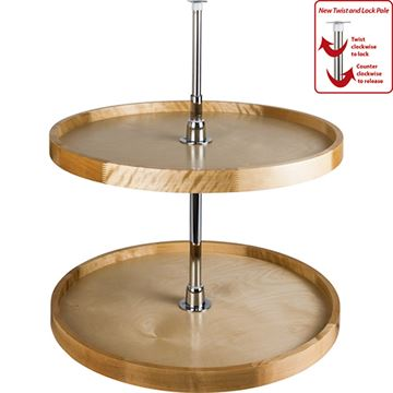 Restorers Round Wood Lazy Susan Set with Twist and Lock Pole