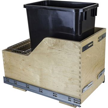 Restorers Wood Bottom Mount 35-Qt Single Pullout Waste Can Kit