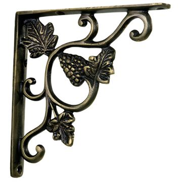 Restorers Grapes Brass Shelf Bracket
