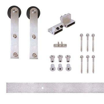 Designer Collection Flat Rail Stick Rolling Hardware Kit - Wood Door