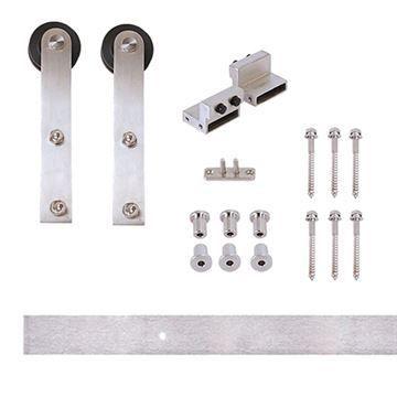 Designer Collection Flat Rail Stick Rolling Hardware Kit - Wood Door