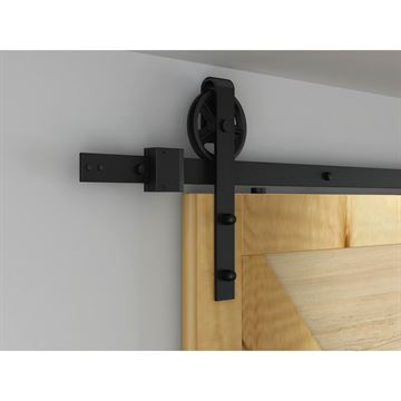 Designer Collection Steel Flat Rail Hook Strap Rolling Door Hardware