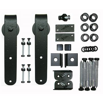 Acorn Rough Round End Rolling Barn Door Hardware Kit - No Track