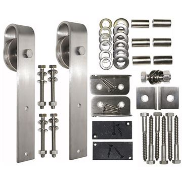 Acorn Smooth Stainless Square Rolling Door Hardware Kit - No Track