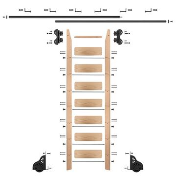 Quiet Glide Oak Library Ladder & 12 Ft Rolling Hardware Kit