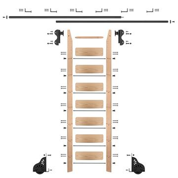 Quiet Glide Oak Library Ladder & 12 Ft Rolling Hook Hardware Kit