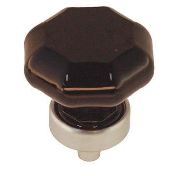 Restorers Classic 1 1/4 Inch Black Glass Octagonal Knob