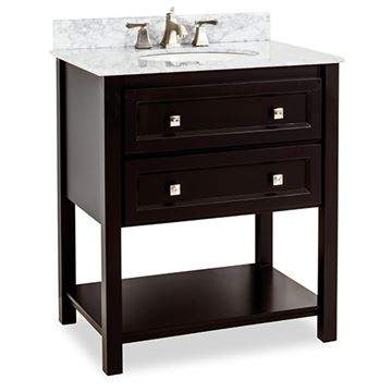Elements Adler 31 Inch Black & Marble Single Vanity