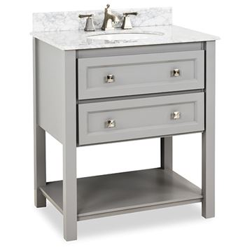 Elements Adler 31 Inch Grey & Marble Single Vanity