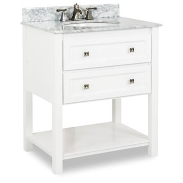 Elements Adler 31 Inch White & Marble Single Vanity