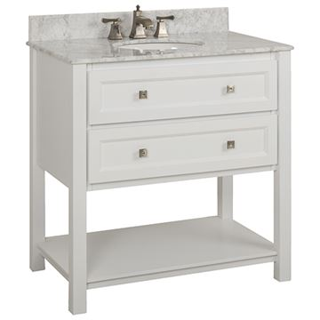Elements Adler 36 Inch White & Marble Single Vanity