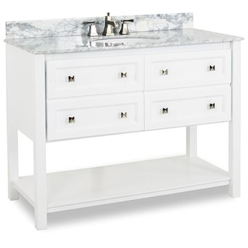 Elements Adler 48 Inch White & Marble Single Vanity