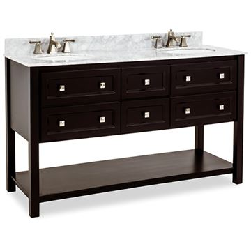 Elements Adler 60 Inch Black & Marble Double Vanity