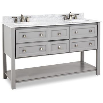 Elements Adler 60 Inch Grey & Marble Double Vanity