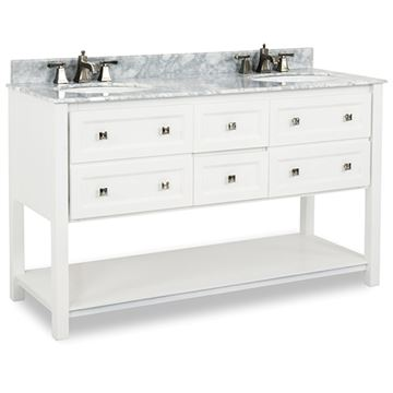 Elements Adler 60 Inch White & Marble Double Vanity