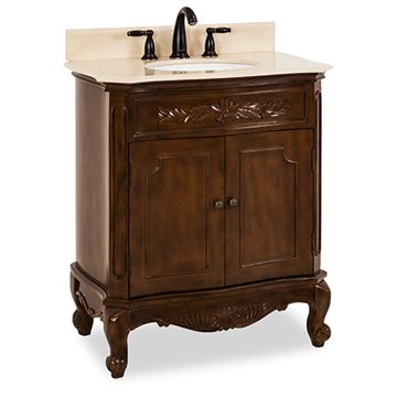 Elements Clairemont 30 Inch Nutmeg & Marble Single Vanity
