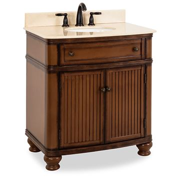 Elements Compton 32 Inch Walnut & Marble Single Vanity