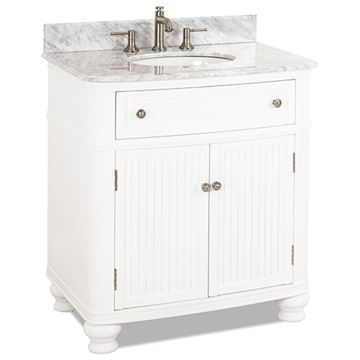 Elements Compton 32 Inch White & Marble Single Vanity