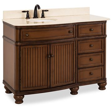 Elements Compton 48 Inch Walnut & Marble Single Offset Vanity