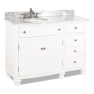 Elements Compton 48 Inch White & Marble Single Offset Vanity