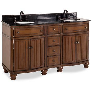 Elements Compton 60 Inch Walnut & Granite Double Vanity