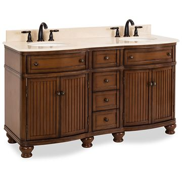 Elements Compton 60 Inch Walnut & Marble Double Vanity
