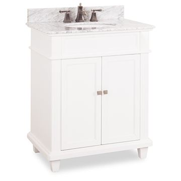 Elements Douglas 30 Inch White & Marble Single Vanity