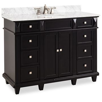 Elements Douglas 48 Inch Black & Marble Single Vanity