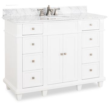 Elements Douglas 48 Inch White & Marble Single Vanity
