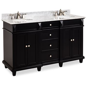 Elements Douglas 60 Inch Black & Marble Double Vanity