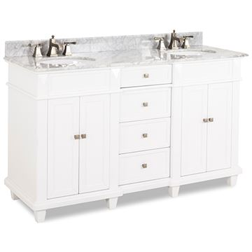 Elements Douglas 60 Inch White & Marble Double Vanity