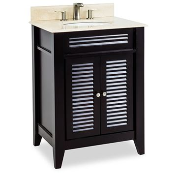 Elements Lindley 26 Inch Espresso & Marble Single Vanity