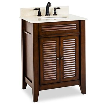 Elements Lindley 26 Inch Nutmeg & Marble Single Vanity