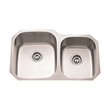 Hardware Resources 18 Gauge 32 Inch Double Bowl Offset Kitchen Sink