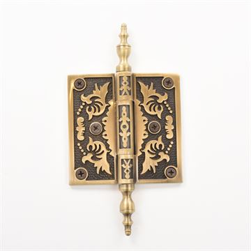 Brass Accents 3 1/2 Inch Filigree Door Hinges with Steeple Tip