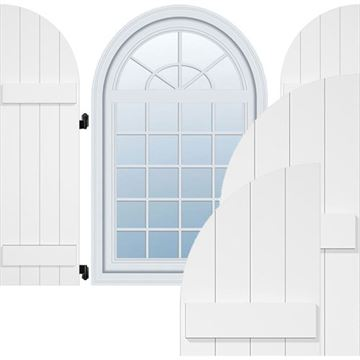 Restorers Architectural Arch Top Board-n-Batten PVC Shutters - Pair