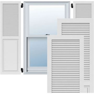 Restorers Architectural Combination Louver PVC Shutters - Pair